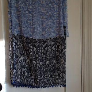 Blue and Black Print Scarf/ Wrap